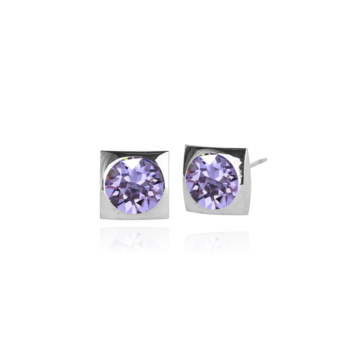 JJ+RR Classic Square Small Stud Silver Earring Violet