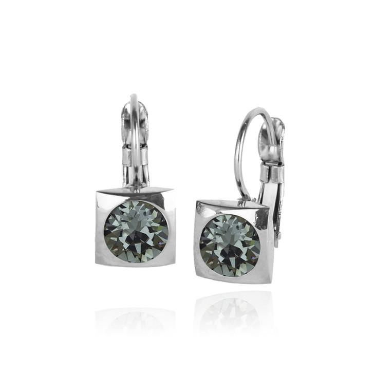 JJ+RR Silver Square Small Frenchback Earrings Black Diamond