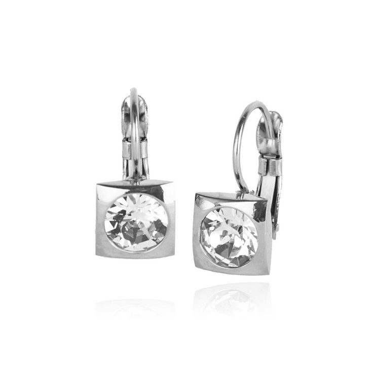 JJ+RR Silver Square Small Frenchback Earrings Crystal