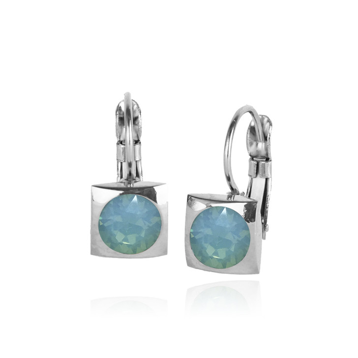 JJ+RR Silver Square Small Frenchback Earrings Pacific Opal