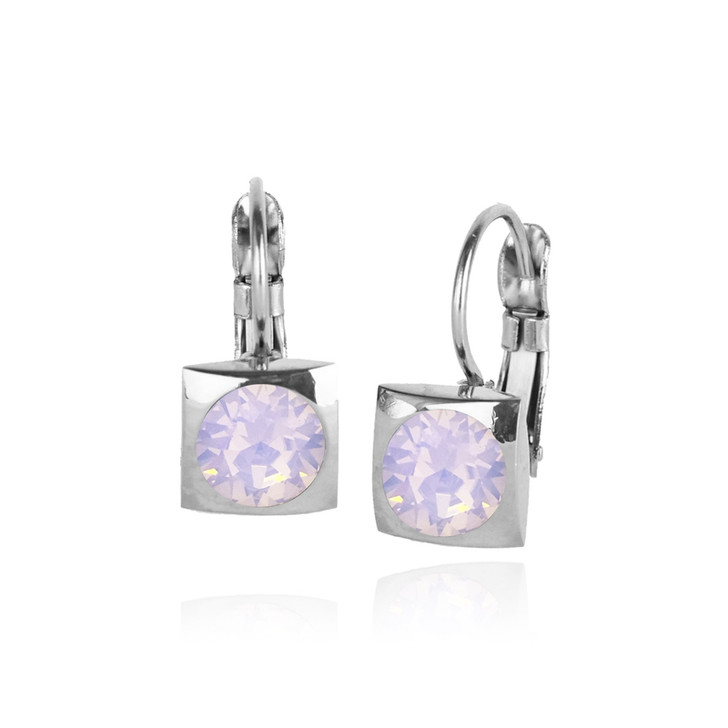 JJ+RR Silver Square Small Frenchback Earrings Pink Opal