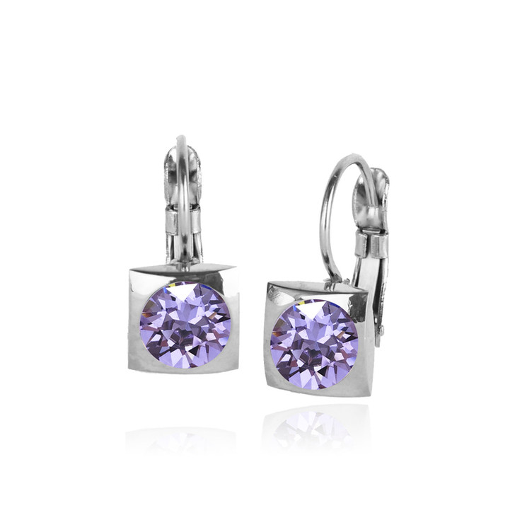 JJ+RR Silver Square Small Frenchback Earrings Violet