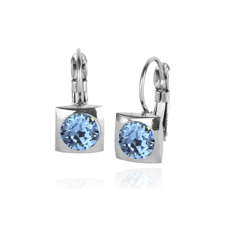 JJ+RR Silver Square Small Frenchback Earrings Aqua