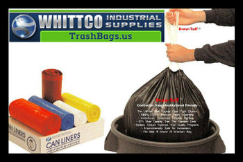 DT55DRUM Draw-Tuff Institutional Draw Tape Can Liners Inteplast Bags Natural
