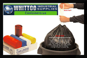 DTH3040B Draw-Tuff Institutional Draw Tape Can Liners Inteplast Bags Blue
