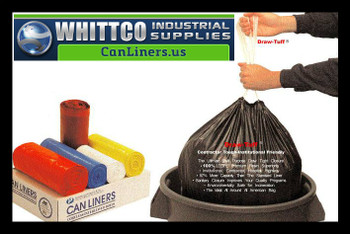 DTL3742G Draw-Tuff Institutional Draw Tape Can Liners Inteplast Bags Orange