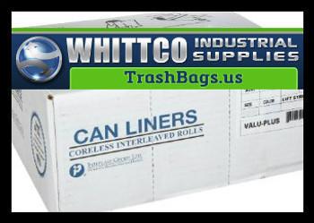 VALH2433N8 VALU-Plus HDPE Trash Bags Inteplast Can Liners Natural