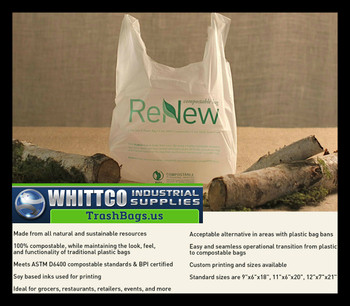 11x6x20 Compostable T-Shirt Bags .8 MIL 1000 Bags per case BPI ASTM D6400
