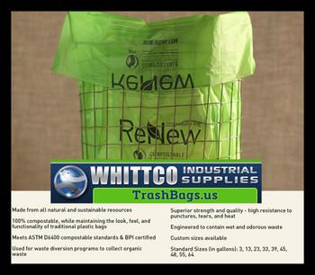 55 Gallon Compostable Trash bags / Liners 1 MIL 100 Bags per case BPI ASTM D6400