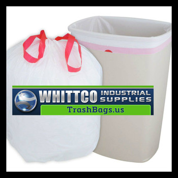 12 Gallon Drawstring Trash Bags White 24x28 IBS-DT12GALW