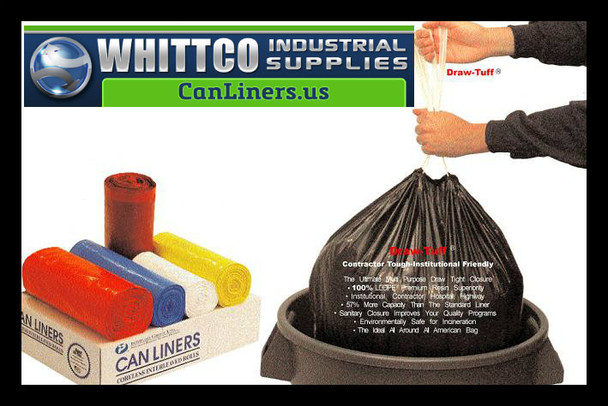 DT44GALW Draw-Tuff Institutional Draw Tape Can Liners Inteplast Bags White
