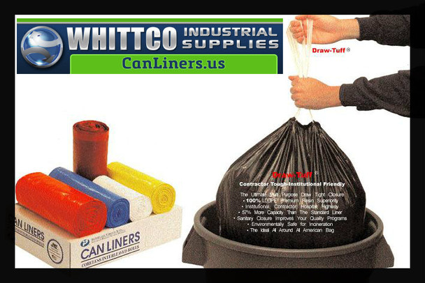 DTH4042B Draw-Tuff Institutional Draw Tape Can Liners Inteplast Bags Blue