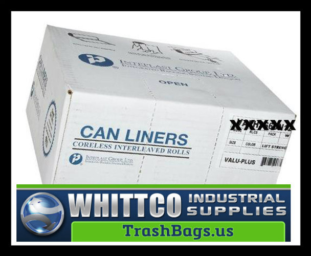 VALH4048K22 VALU-Plus HDPE Trash Bags Inteplast Can Liners Black