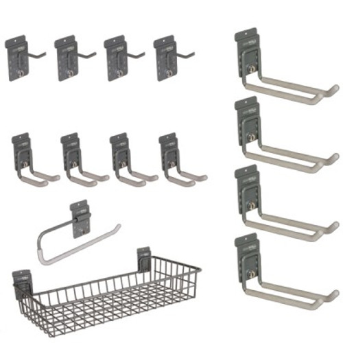 4 HD Universal Hooks 4 2.5″ Single Hooks 4 Universal Hooks 1 SW Paper Towel Holder 1 HD Shallow Basket
