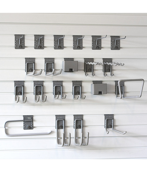 StoreWALL Premium Hook Bundle is perfect to move your garage into a well organized, functional space. Power tools, step ladders, extension cords, sports equipment, pruning shears and shovels will all find a home within this Premium Hook Bundle.  Premium Hook Bundle includes 2 – Heavy Duty Tool Hook 2 – Heavy Duty Cradle Hook 2 – Heavy Duty Universal Hook 1 – Heavy Duty Utility Hook 2 – Heavy Duty Box Hook 1 – Wide Hook 2 – 2.5″ Single Hook 2 – 5″ Single Hook 2 – 7.5″ Single Hook 2 – Universal Hook 2 – Cradle Hook 1 – Long Hook