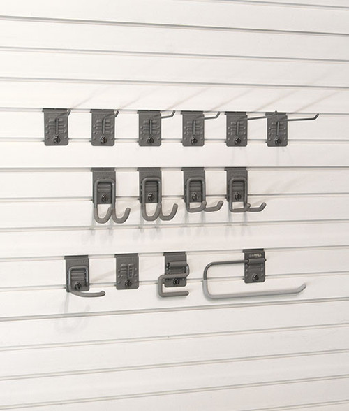 """The Basic 14 Hook Bundle is the perfect starter grouping of storeWALL hooks to answer your basic storage needs. This variety bundle will help you organize hand tools, power tools, bike helmets and even find a home for the roll of paper towels.  2 – 2.5″ Single Hooks  2 – 5″ Single Hooks  2 – 7.5″ Single Hooks  2 – Cradle Hooks  2 – Universal Hooks  1 – J Hook  1 – Heavy Duty """"S"""" Hook  1 – U Hook  1 -Paper Towel Holder"""