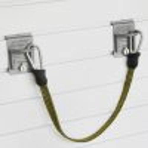 """Two closed loop hooks and the 17″ adjustable bungee cord can store a variety of items vertically on the wall, freeing up valuable storage space. Wonderful for storing storm windows or ladders. The Medium Bungee measures 17″ without clips and extends to 54″ clip to clip.  4.5""""H x 23""""W x 2.5""""D unstretched clip to clip."""