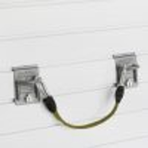 """Two closed loop hooks and the 9″ adjustable bungee cord can store a variety of items vertically on the wall, freeing up valuable storage space. Perfect for items such as lumber, hockey bags, or even the patio umbrella. The Small Bungee measures 9″ without clips and extends to 33 inches, clip to clip.  4.5""""H x 15""""W x 2.5""""D unstretched clip to clip."""