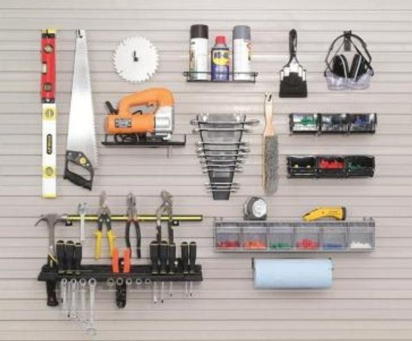 """Organize your work center with this helpful and complete kit!  Kit includes:  •1-Message clip •1-Small Tray •6-4"""" Hooks w/Hook-LOK •1-Wire Shelf •1-Medium Open Parts set •1-24"""" Magnetic Tool Holder •1-Paper Towel Holder •1-Tip Out Bins-6 •1-Resin Tool Rack •1-Wrench Holder"""