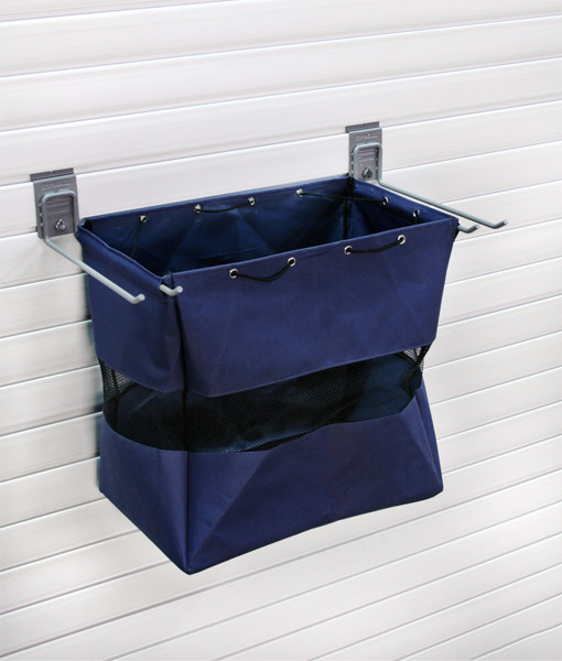 Our Medium Grab and Go Bag is made with heavy duty tear-resistant canvas. It is perfect for storing items for quick and secure access. This bag includes mesh panels for visibility and circulation.  Paired with the 12-inch universal hook to attach to the wall.  18″L x 11″W x 18″H  Fits 3″ standard slatwall products  SW SKU: BAG-GRAB-18