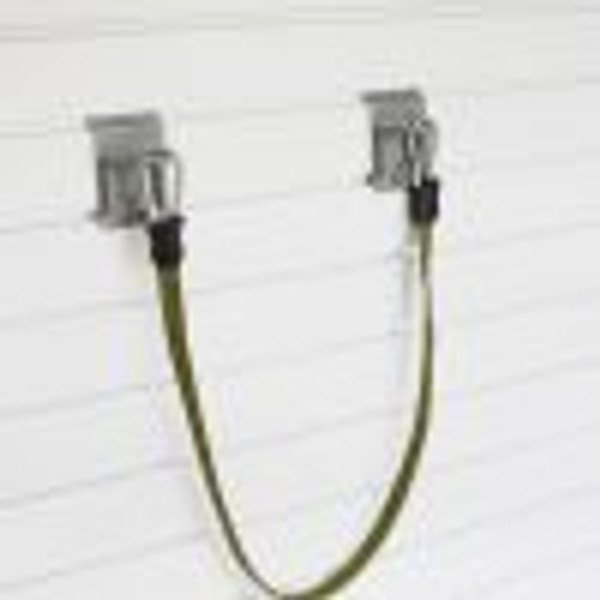 """Two closed loop hooks and the 33″ adjustable bungee cord can store large objects vertically on the wall, freeing up valuable storage space. Can be used to store items such as a rowboat, wheelbarrow and more! The Large Bungee measures 33″ without clips and extends to 96″ clip to clip.  4.5""""H x 39""""W x 2.5""""D, unstretched clip to clip"""