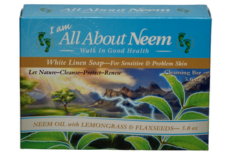 Neem Oil Soap with Lemongrass Oil & Flaxseed Oil - White Linen