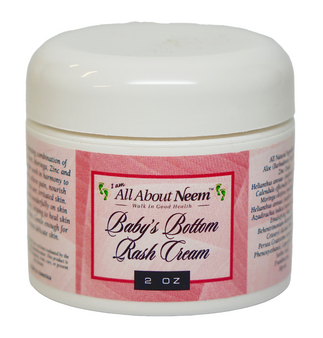 "Neem Oil ""Baby's Bottom Rash Relief"" Cream with Aloe, Arnica and Moringa"