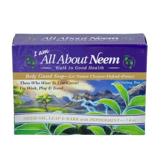 """Body Guard Plus"" Same Neem Bark  Fresh Peppermint Soap ""PLUS"" Activated Neem Charcoal & Neem Resin"