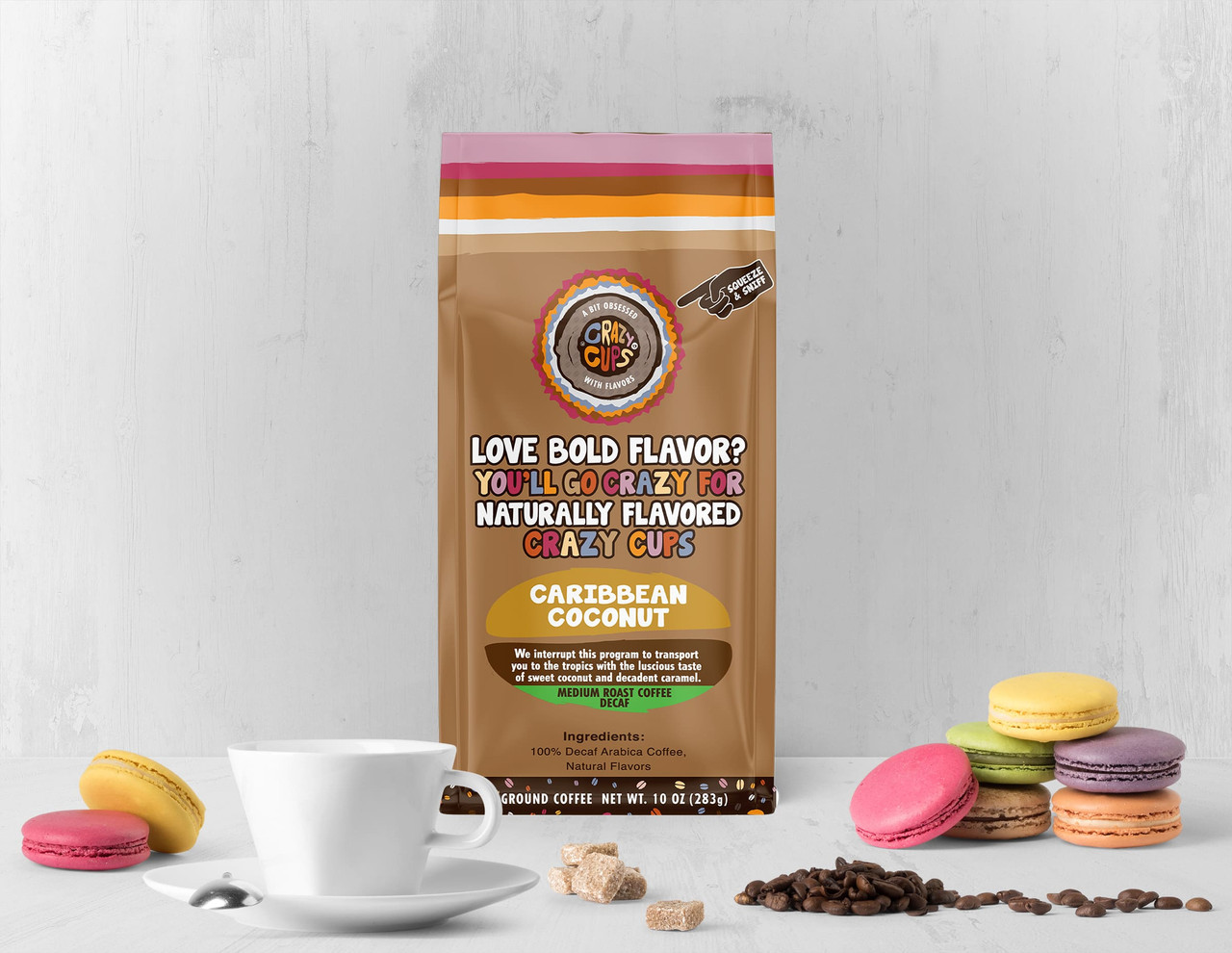 Decaf Caribbean Coconut Ground Bag Flavored Coffee by Crazy Cups