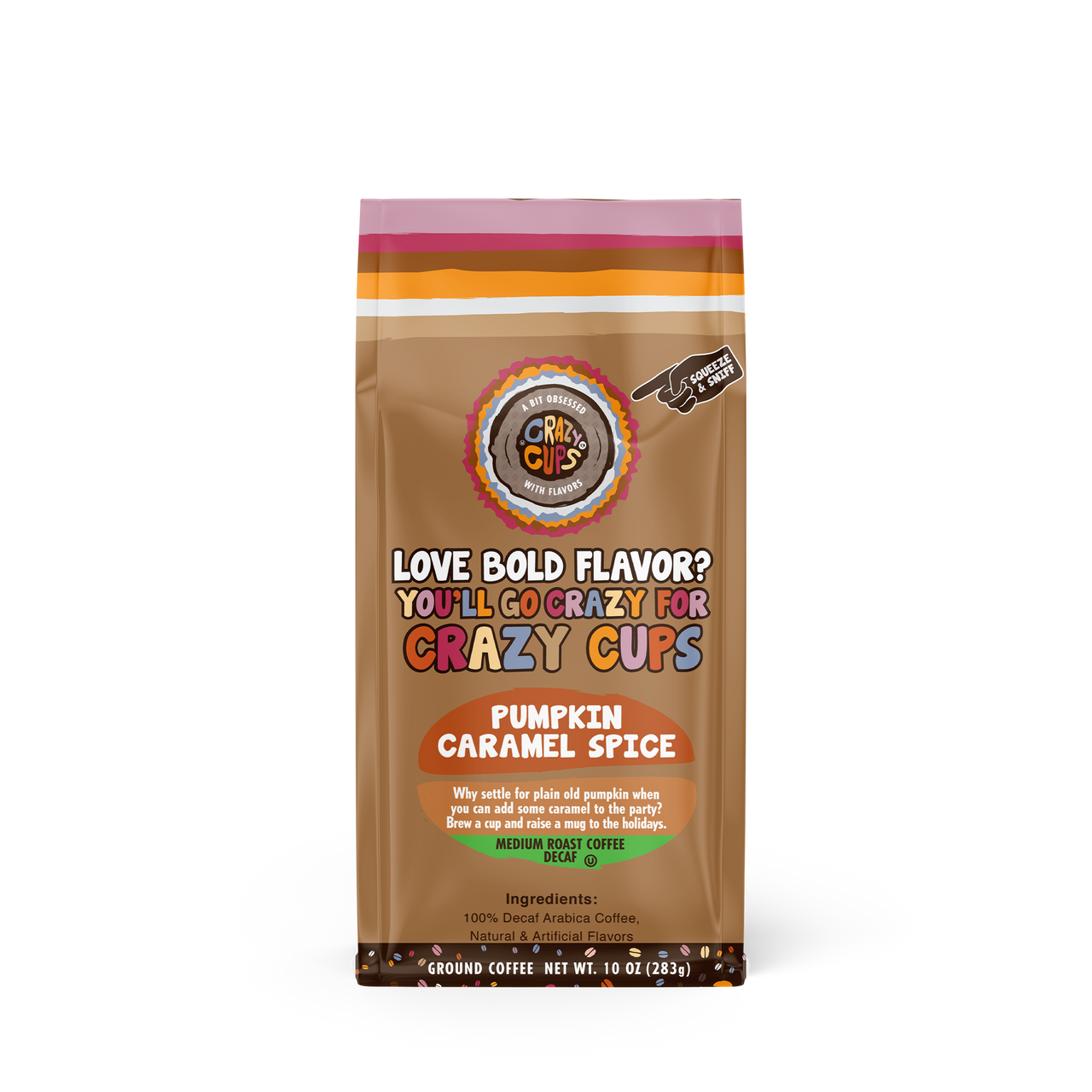 Pumpkin Caramel Decaf Ground Coffee By Crazy Cups
