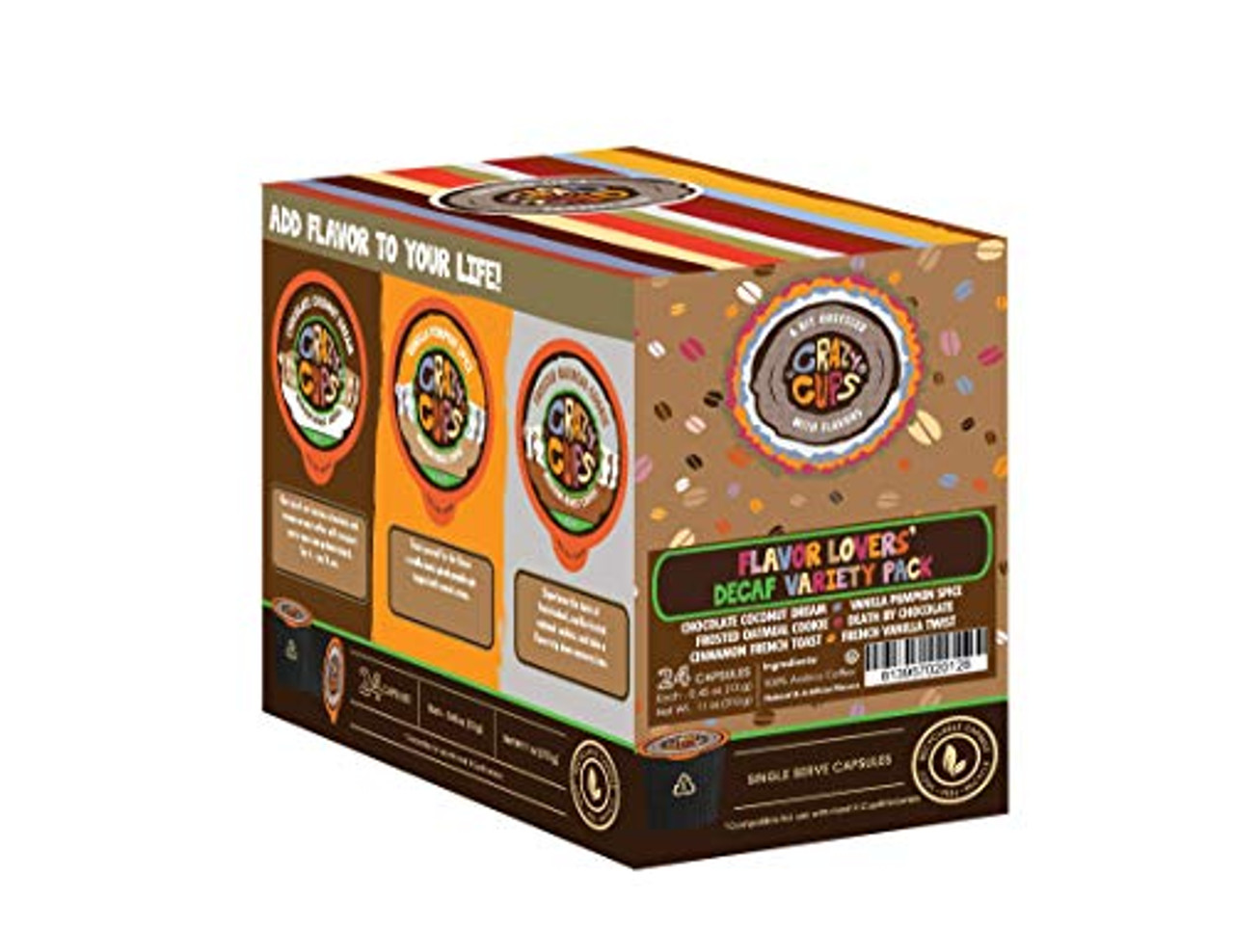 Crazy Cups Decaf Lovers Flavored Coffee Variety Pack 24 Count