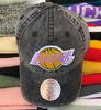 Los Angeles Lakers Black Stonewash Strapback Dad Hat