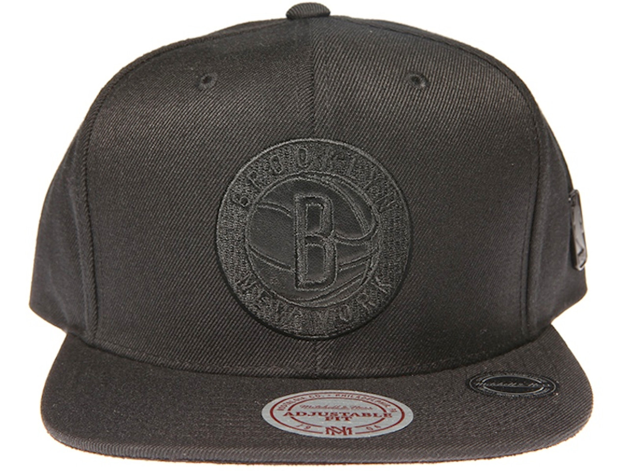 best service 9fe44 70d7d ... shop brooklyn nets genuine leather logo mitchell ness nba black snapback  hat a470f 5ceee