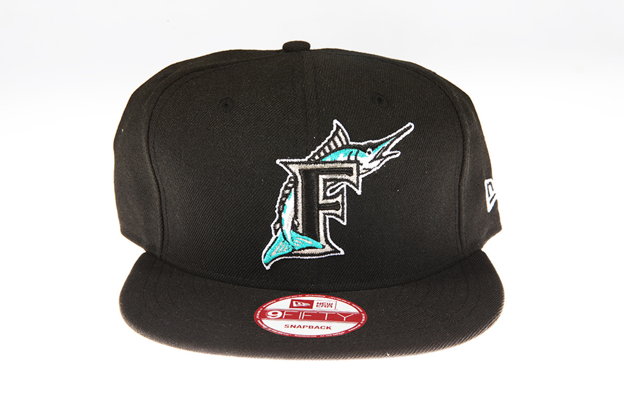 79d6882c354 Florida Marlins Black New Era 9Fifty MLB Snapback Hat