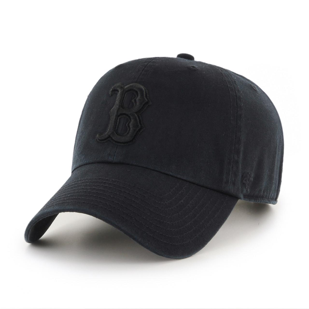 Boston Red Sox Blackout 47Brand MLB Strapback Clean Up Hat 2f4ef2d5641