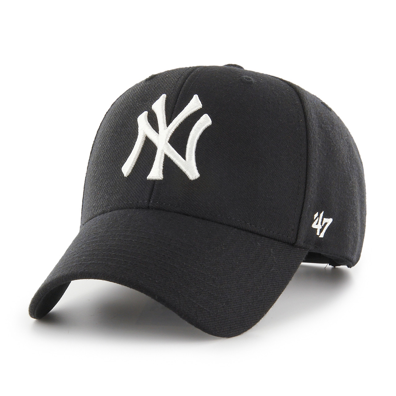 c10a0af70d3c3 New York Yankees MVP Black Large White Logo 47Brand MLB Snapback Hat
