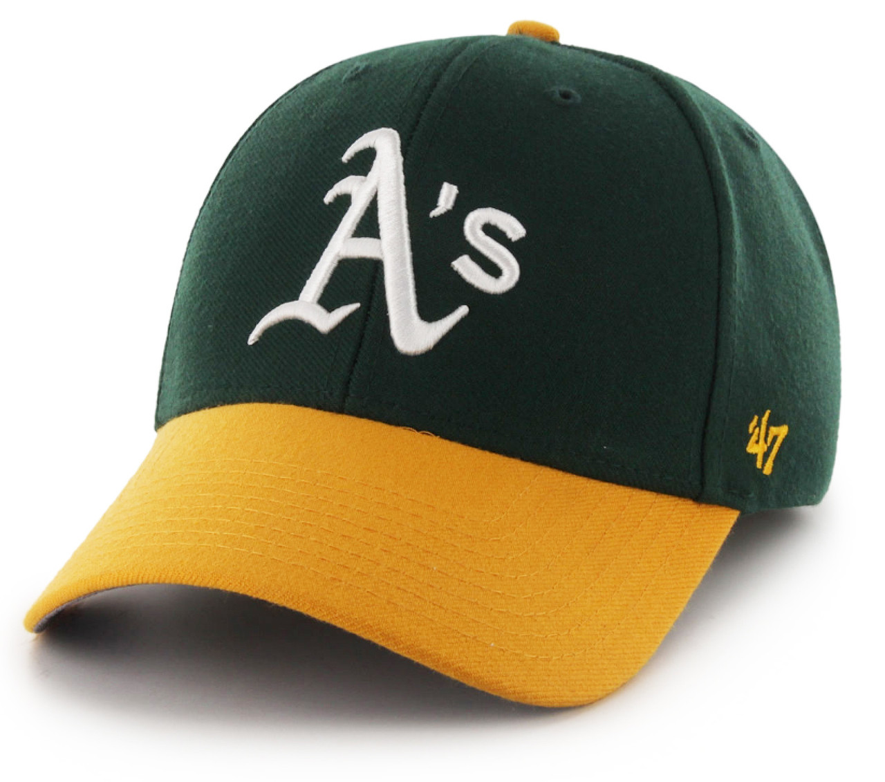 Oakland Athletics Green Yellow 47Brand MLB Velcro Strapback MVP Hat 266a2426e