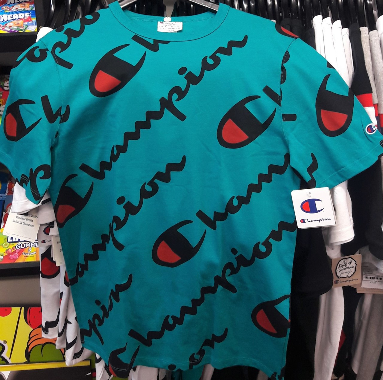 970b5ddc00b Champion Xplode Script Teal T-Shirt - Authentic Champion Clothing ...