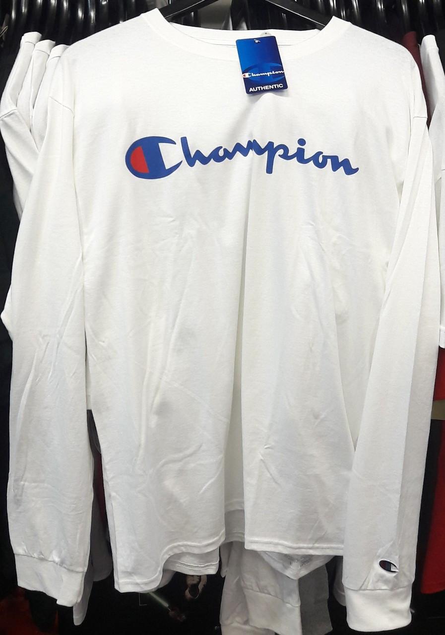cde136f491b Champion Clothing. $53.92. Champion Reverse Weave Script Long Sleeve White  T-Shirt