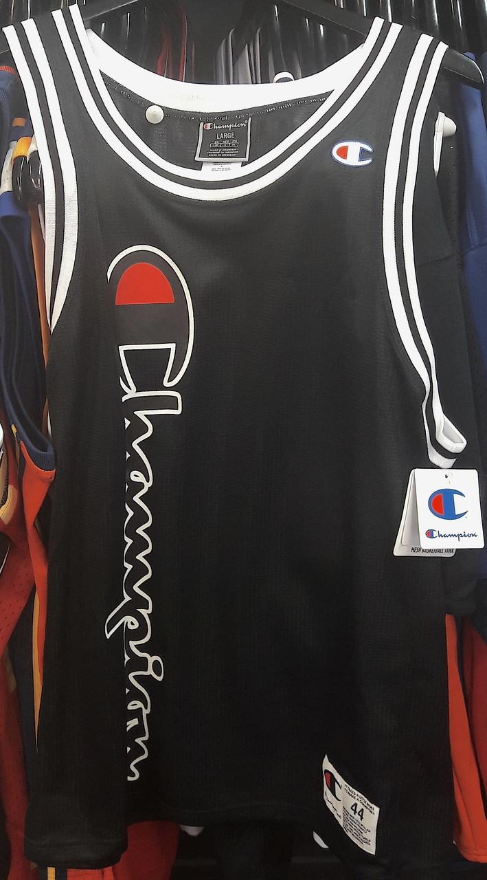 a6ab2d28c12 Champion Mesh Basketball Script Black Singlet- Authentic Champion ...