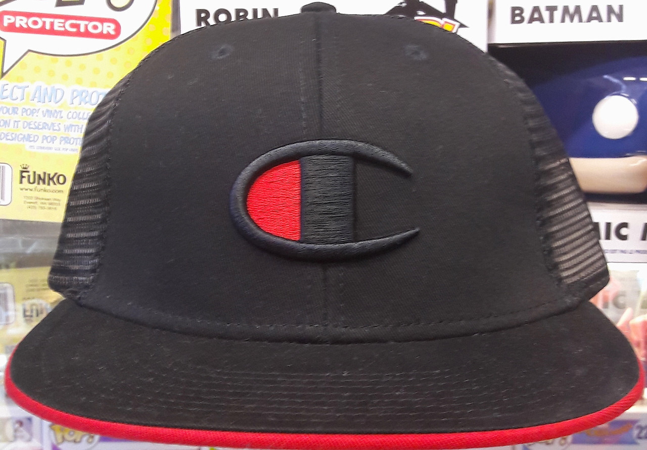 81ae4632 ... best champion c logo mesh black flat snapback hat 7af11 8379b