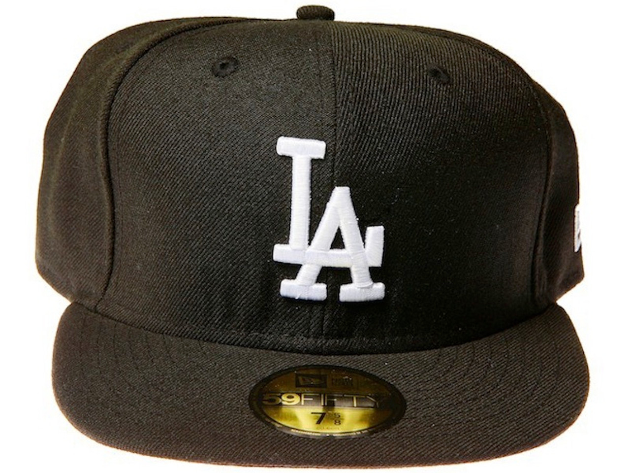 bf6e6db2025 Los Angeles Dodgers Logo New Era Black 59FIFTY Fitted Cap - !