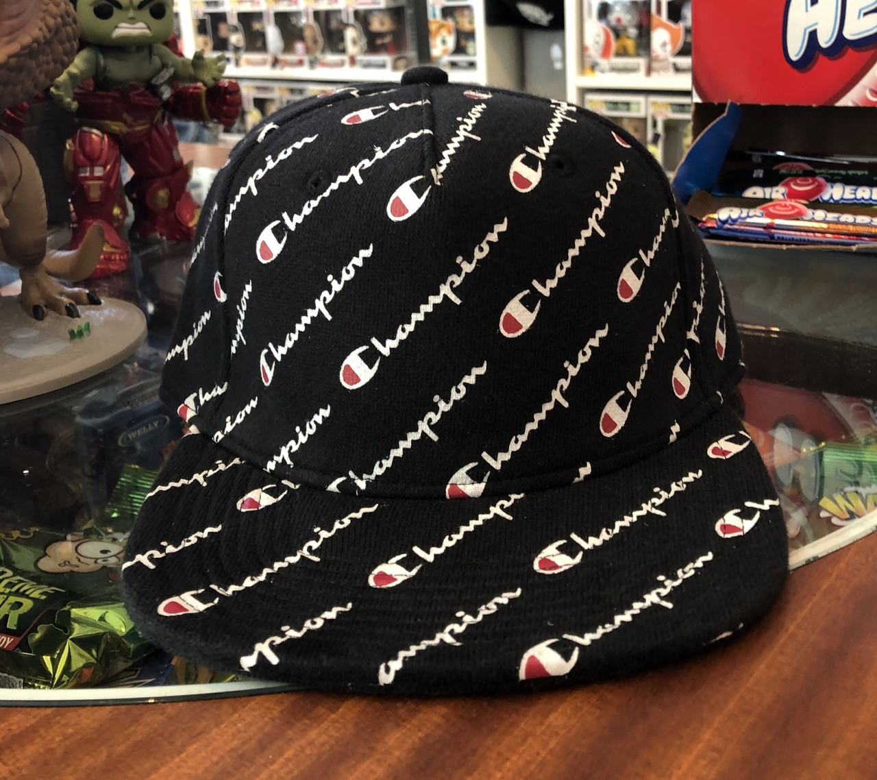 f1414f611fef3 Champion All Over Script Black Strapback Flat Hat