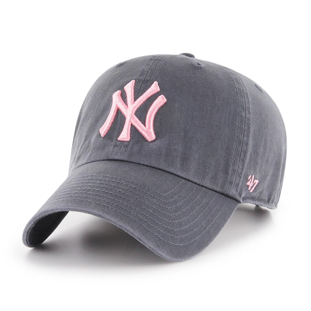 616f67a5e1d21e New York Yankees Pink Logo Vintage 47Brand MLB Strapback Clean Up Hat.  47Brand