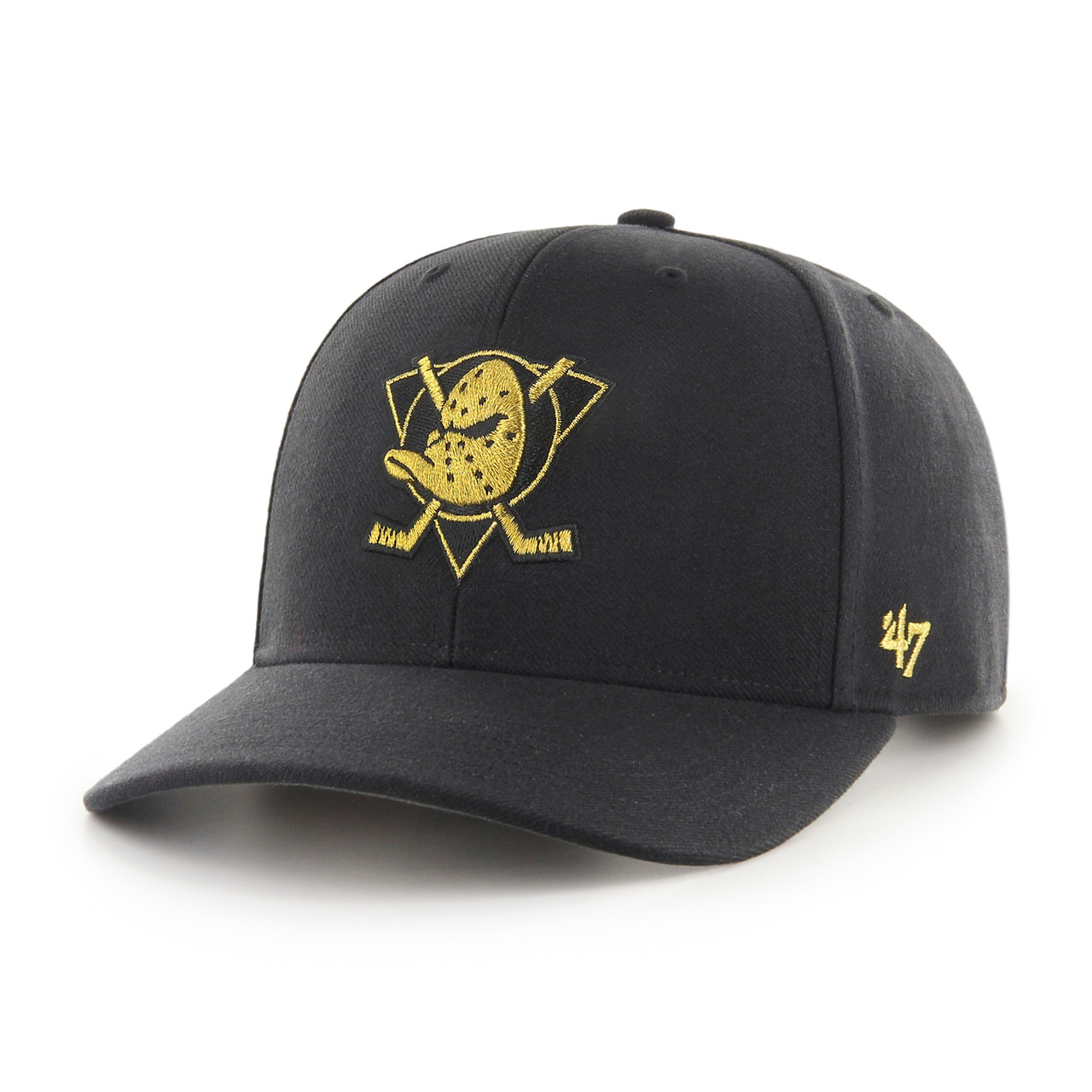 b0700af29120a Mighty Ducks Ducks Gold Audible Black MVP Logo 47Brand NHL Snapback Hat