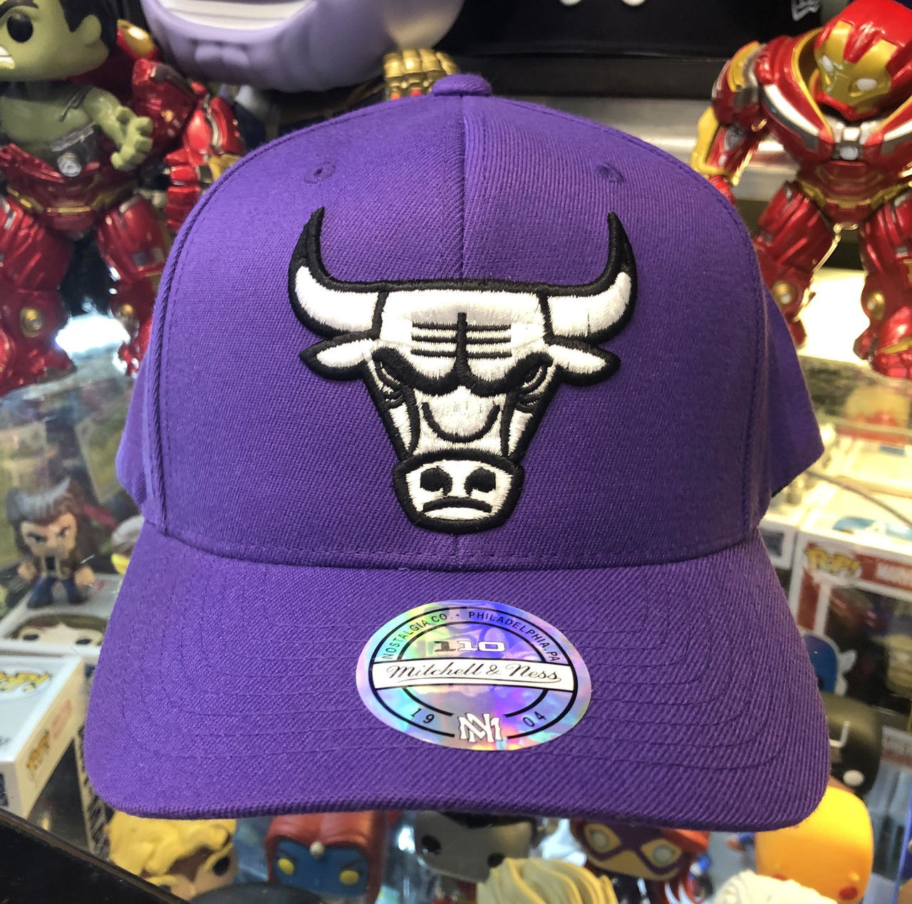 befd6f3010d ... best price chicago bulls flex pop purple logo mitchell ness snapback hat  1d963 0f727