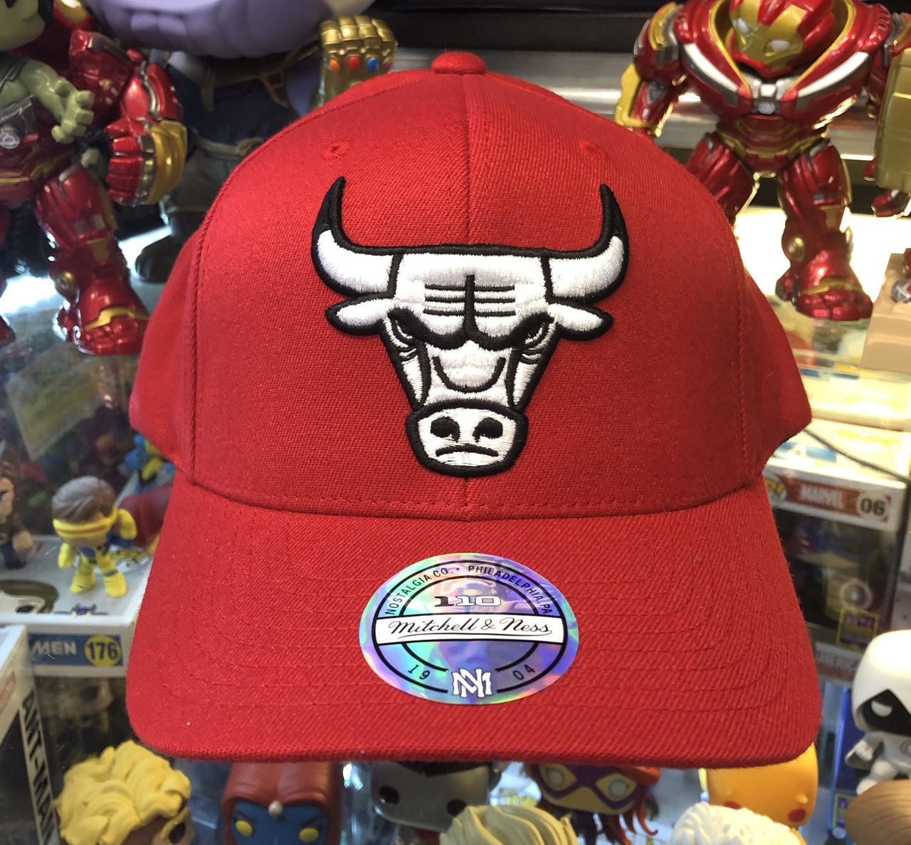 Chicago Bulls Flex Pop Red Logo Mitchell   Ness Snapback Hat. Mitchell    Ness 3185480ad5b