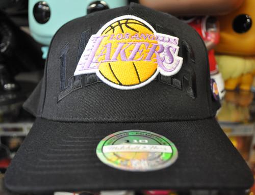 Los Angeles Lakers Arch Badge Flex Mitchell & Ness Black Snapback Hat