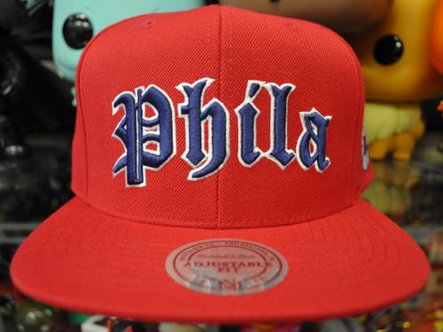 Philadelphia 76ers Old English Flat Brim Mitchell & Ness Snapback Hat
