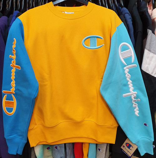 Champion Logo Reverse Weave Colourblock Blue & Yellow Crewneck Jersey